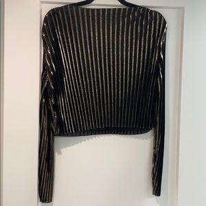 Zara gold and black ribbed top